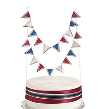 Vintage Patriotic BUNTING CAKE TOPPER Pennant Banner Decoration NauticalBirthday