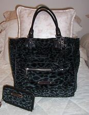 NWT Juicy Couture LEOPARD Velour Tote Bag & Wallet Set DARK FOREST YHRUS145