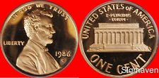 1986 S Lincoln Cent Deep Cameo Gem Proof No Reserve