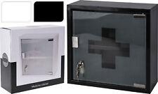 Lockable 2 Keys Medicine Cabinet First Aid Box  Wall Mounted Cupboard Glass Door