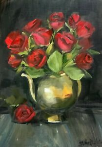 Print from original art  12 red roses A3,  A5,  A4, Greeting card valentines day
