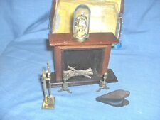 #229 - VINTAGE DOLLHOUSE FURNITURE - WOOD FIREPLACE WITH ACCESSORIES