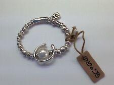 "CHILD SMALL  NWT Uno de 50 Silver-Plated  STRETCH w/ Faux Pearl Bracelet  4"""