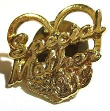 Gold tone lapel tac pin Special Mother Heart & Rose