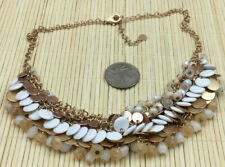 Loft Necklace Glass & Plastic faceted Saucer White Flesh Opaline Disk Chain Mail