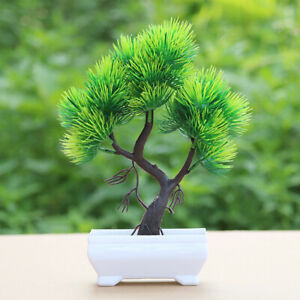 CW_ CO_ Artificial Pine Tree Plant Potted Bonsai Home Office Desk Furniture Deco