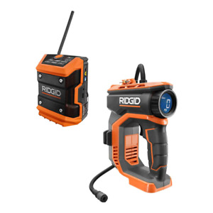 18V Cordless High Pressure Inflator and Mini Bluetooth Radio (Tools Only) NEW