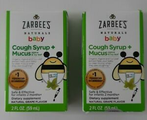 Zarbees Naturals Baby Cough Syrup Mucus Agave Ivy Leaf Grape Flavor Lot of 2