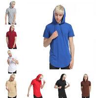 MEN'S Solid Long Length hooded Hoodie Short Sleeve Casual T-Shirt w/ Side Zipper