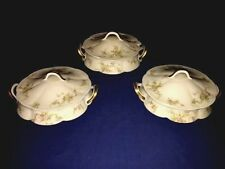 3 Theodore Haviland Limoges China Round Covered Vegetable Bowls ~ Excellent