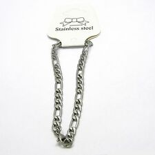 Unisex Solid 304 Stainless Surgical Steel Figaro 8 inch Chain Bracelet
