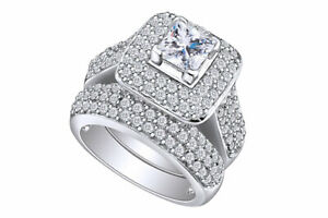 1Ct Princess Cut Cubic Zirconia Sterling Silver Wedding Engagement Ring Band Set