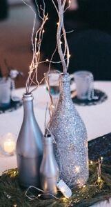 Glitter Champagne Silver Large Bottles Wedding New Years Table Decor (1 Bottle)