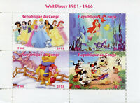 Congo 2013 MNH Walt Disney Pooh Bear Snow White Mickey Mouse 4v M/S Stamps