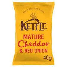 Kettle Mature Cheddar & Red Onion Crisps - Box of 18x 40g Packets - NEW & SEALED