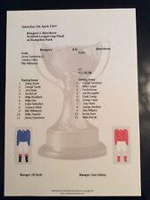 1946-47 Scottish League Cup Final Rangers v Aberdeen matchsheet
