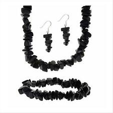 925 Silver Onyx Chip Dangle Earrings, Stretch Bracelet, & Necklace Jewelry Set