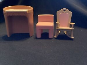 Vintage Little Tikes Dollhouse Vanity with Pink Chair Rocking Chair Fisher Price