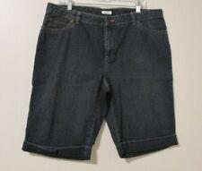Liz & Co. Shorts Blue Jean Denim 100% Cotton Cuffed Hems Women's Size 16