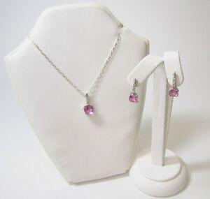 Ladies Jewellery Set 9ct White Gold TwoPiece Created Pink Sapphire & Diamond Set