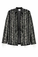 H&M STUDIO Velvet Hand Embroidered Jacket Chains Velour Silk Blazer XS M L Black