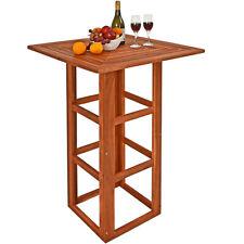 Mesa bar de madera de Acacia alta bistro cuadrada 75x75x110cm jardín eventos
