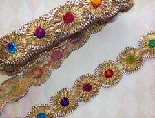 gold multicolour embroidery trimming BRAID ribbon applique lace