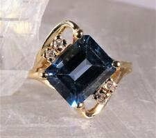 Topaz & Diamond Ring 14K Yellow Gold Size 4.5