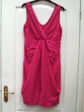 H&M FUCHSIA PINK MODAL MIX PRETTY V-NECK STRAPPY PINTUCK DRAPE FRONT SHIFT DRESS