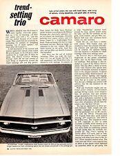1967 CHEVROLET CAMARO  ~  ORIGINAL 4-PAGE NEW CAR PREVIEW ARTICLE / AD