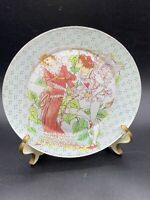 Vintage Glass Reversed Underpainted Art Nouveau Plate Artist Signed Mary Nell