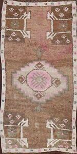 Vintage Geometric Oushak Turkish Oriental Area Rug Hand-knotted Wool Carpet 1x3