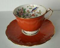 Aynsley rust red  blue bird Tea cup & saucer flower Bone China England gold