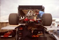 PHOTO  F2 BRABHAM (?).  THAT IS SOME GOOD LATERAL THINKING TO USE THE TRANSPORTE