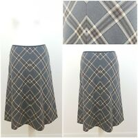 M&S Tartan Grey Brown Checked Kilt Style Long Skirt Size 10 Lined A Line Midi