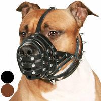 PitBull Dog Muzzle Leather AmStaff Muzzles Staffordshire Terrier Secure Basket