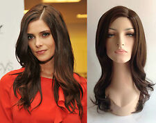 Deluxe Ashley Greene Largo Marrón Chocolate Ondulada Alta Fashion Celebrity Peluca