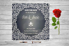 Personalised Save The Date Cards X 50 Weddding Navy Lights Magnetic A6 SD285