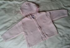 BABY GIRLS PINK CARDIGAN 6-12 MONTHS HOODED TEDDY BEAR NO MARKS OR STAINS