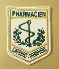 Patch / écusson en tissu soie brodé PHARMACIEN SAPEURS POMPIERS - 11 x 7,5 cm
