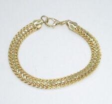 "Thick Yellow Gold Tone Chain Bracelet Linked Shiny Textured Shiny 7"" Chunky Chic"