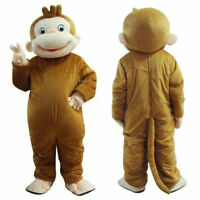 Brown Monkey Mascot Costume Suit Halloween Party Game Animal Fancy Dress Adults