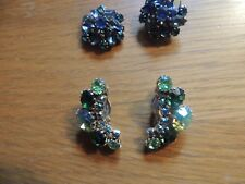 Vintage signed WEISS earrings,light, dark green & A/B rhinestones in gold tone