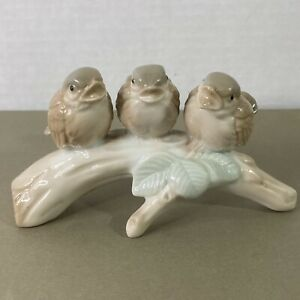 3 Little Birds on Tree Branch Porcelain Figurine Otagiri Japan Vintage w Sticker