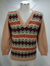 Vintage Saks Fifth Avenue Womens Wool Aztec Floral Sweater Size XS Blue Brown V