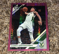 Giannis Antetokounmpo 2019-20 Donruss Optic Pink Hyper Holo Prizm SP Refractor
