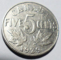 Coin - 1929 Canada 5 Cents - 5C - George V - Nickel