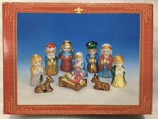 World Bazaars Vintage 10 Piece Children's Nativity 3� Ceramic Figurine Set