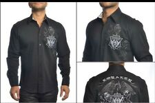 NWT $139 MONDO Men's Shirt Size M Tailored Fit Black With Embroidery