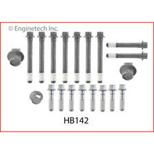 Enginetech Cylinder Head Bolt Set HB142; Hex Head Natural Steel for Chevy SBC
